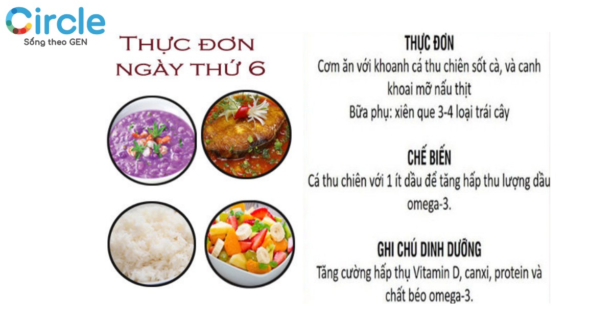 Gợi ý thực đơn ngày thứ 6 trong chế độ ăn dinh dưỡng cho trẻ 7 tuổi.