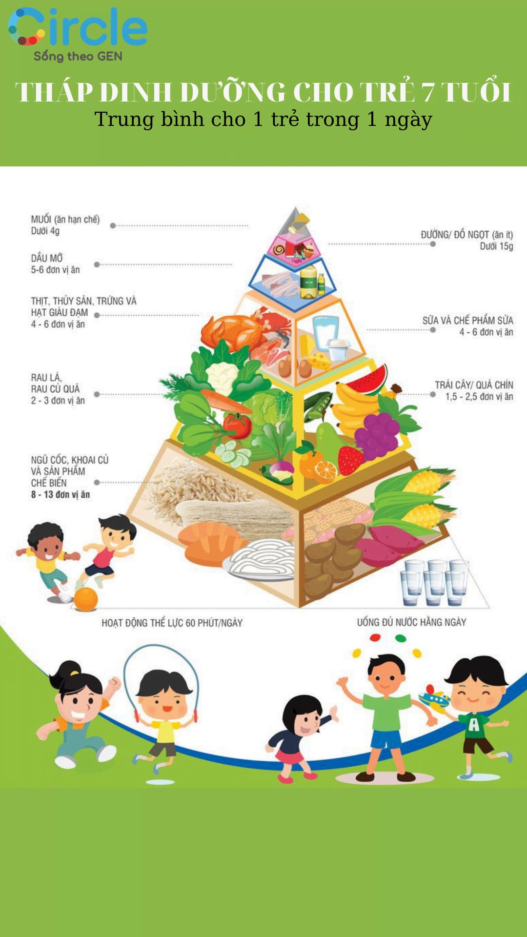 Tháp dinh dưỡng - công cụ giúp mẹ xây dựng một chế độ ăn dinh dưỡng đầy đủ cho trẻ 7 tuổi.
