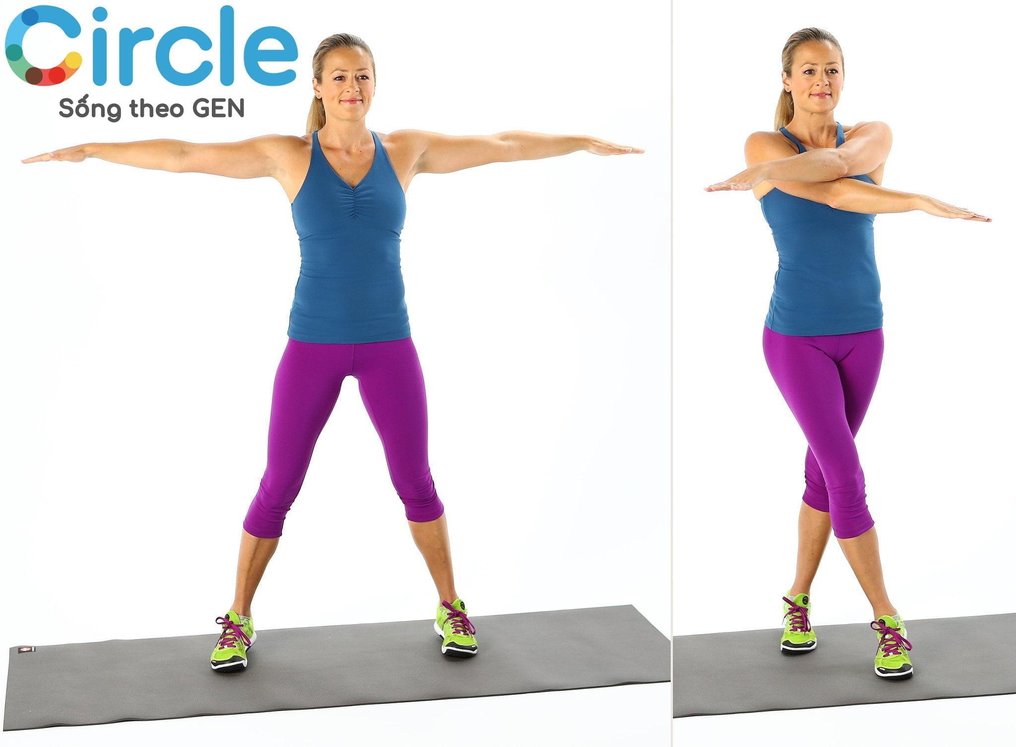 Scissor Jack cũng là bài tập thể dục đơn giản tại nhà cho nữ, nằm trong bài Cardio. Tập trung chính là săn chắc hai vùng hông, chân và bắp tay.