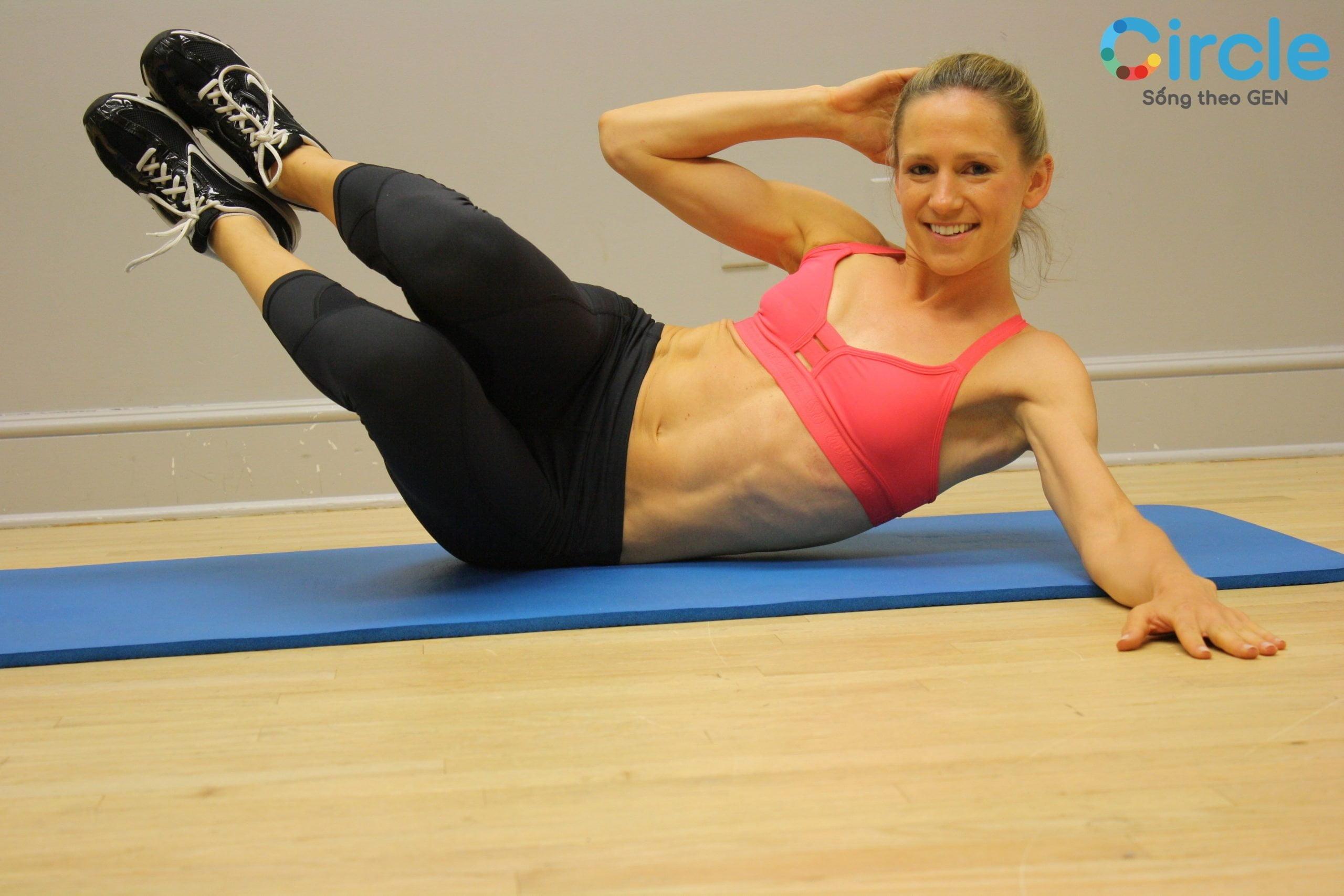 Side Crunch - Gập nghiêng - Bài tập thể dục giảm mỡ bụng 15 phút nhanh chóng